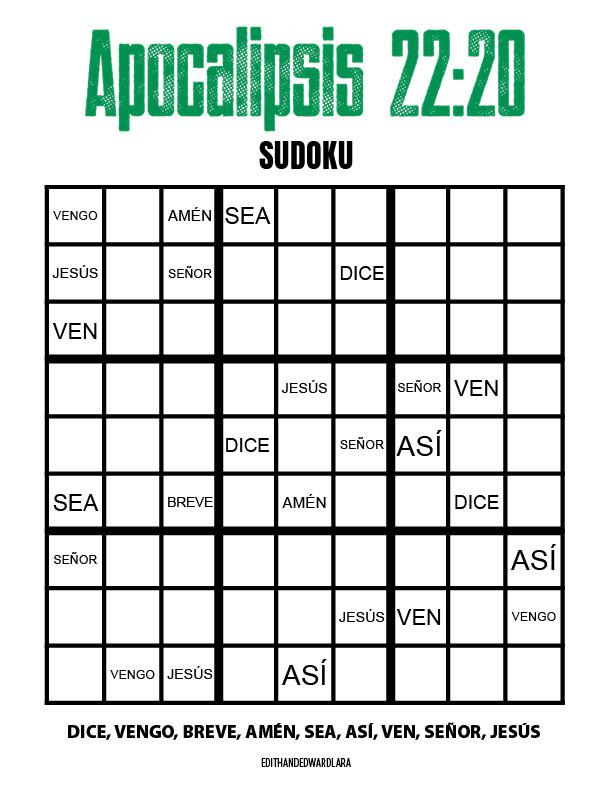 Apocalipsis 22:20 - Sudoku