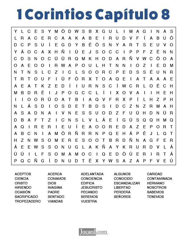Sopa de Letras - 1 Corintios Cápitulo 8