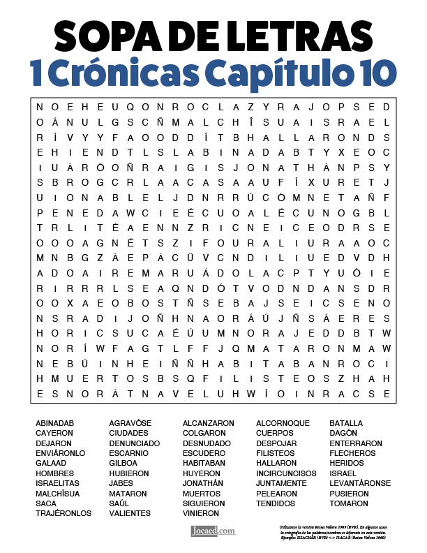 Sopa de Letras - 1 Crónicas Cápitulo 10