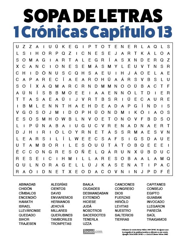 Sopa de Letras - 1 Crónicas Cápitulo 13
