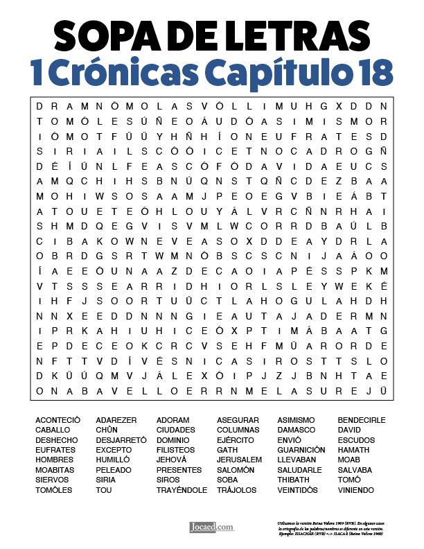 Sopa de Letras - 1 Crónicas Cápitulo 18