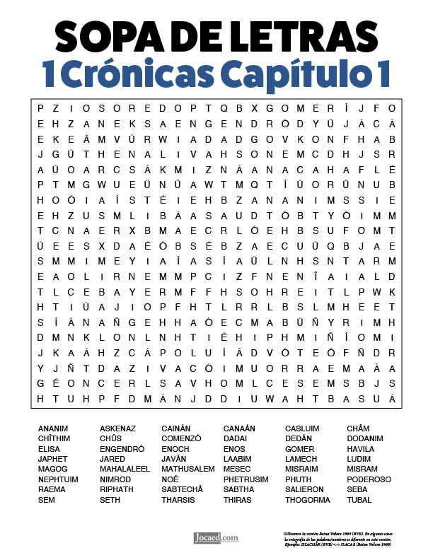 Sopa de Letras - 1 Crónicas Cápitulo 1