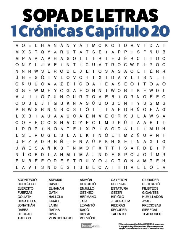 Sopa de Letras - 1 Crónicas Cápitulo 20