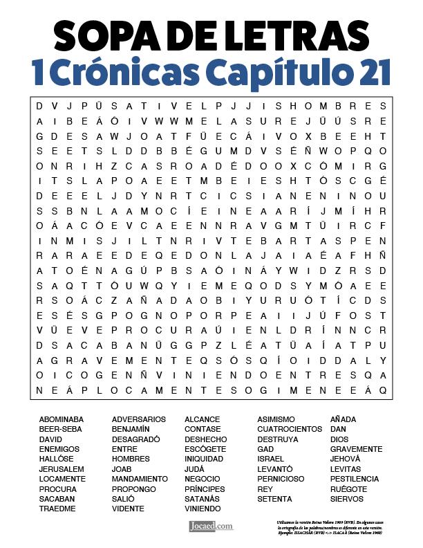 Sopa de Letras - 1 Crónicas Cápitulo 21