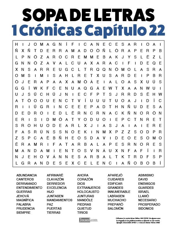 Sopa de Letras - 1 Crónicas Cápitulo 22