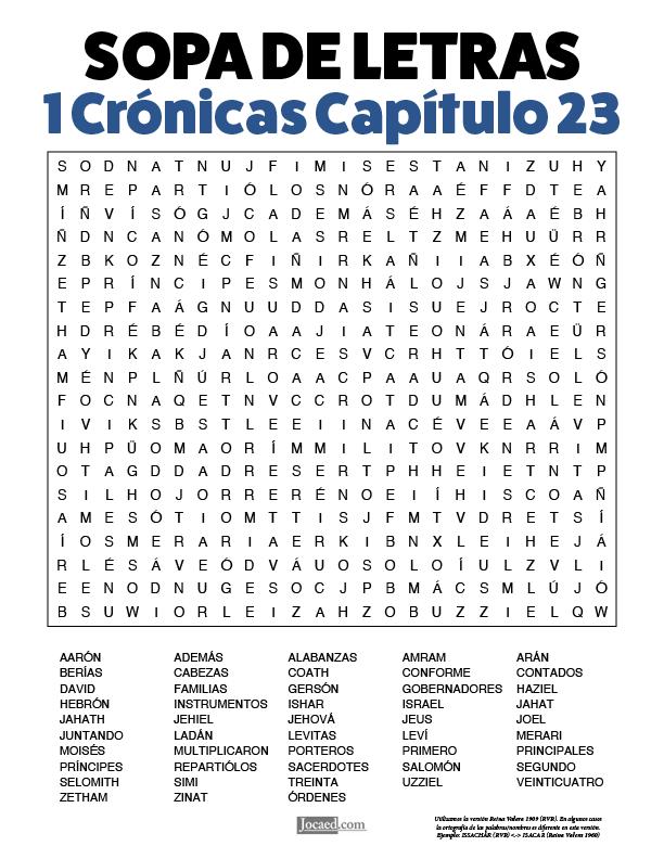 Sopa de Letras - 1 Crónicas Cápitulo 23