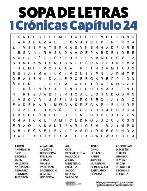 Sopa de Letras - 1 Crónicas Cápitulo 24