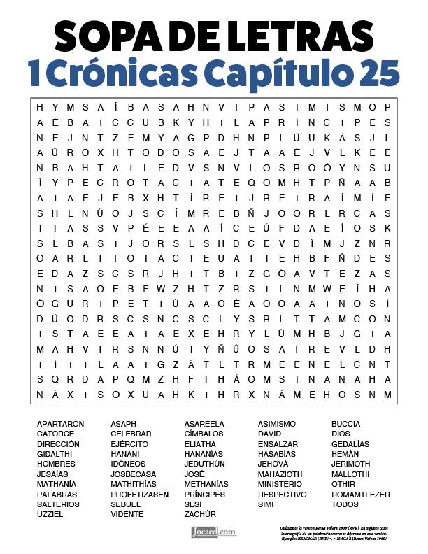 Sopa de Letras - 1 Crónicas Cápitulo 25