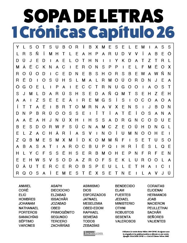 Sopa de Letras - 1 Crónicas Cápitulo 26