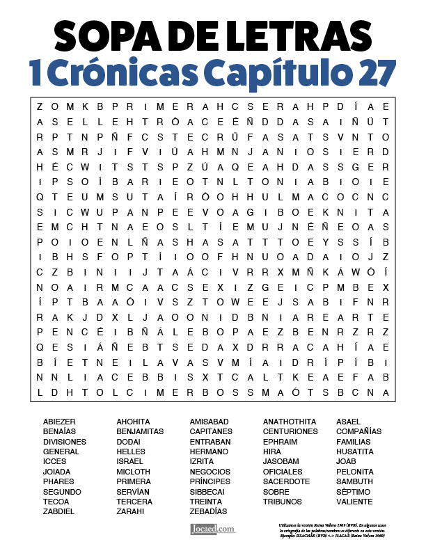 Sopa de Letras - 1 Crónicas Cápitulo 27