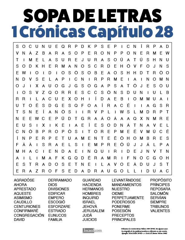 Sopa de Letras - 1 Crónicas Cápitulo 28