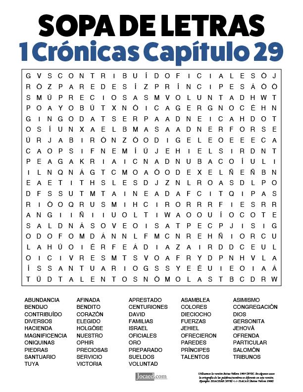 Sopa de Letras - 1 Crónicas Cápitulo 29