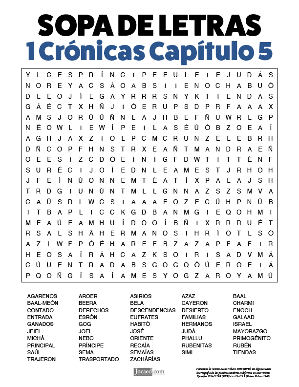 Sopa de Letras - 1 Crónicas Cápitulo 5