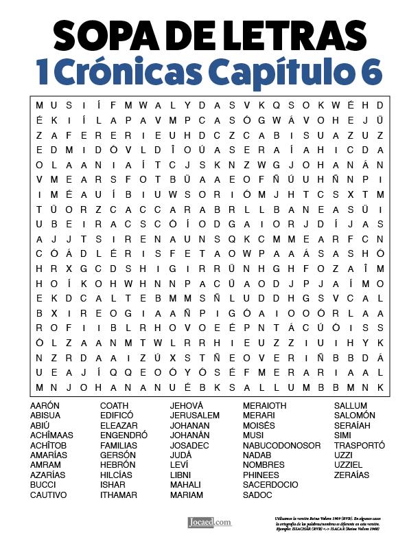 Sopa de Letras - 1 Crónicas Cápitulo 6