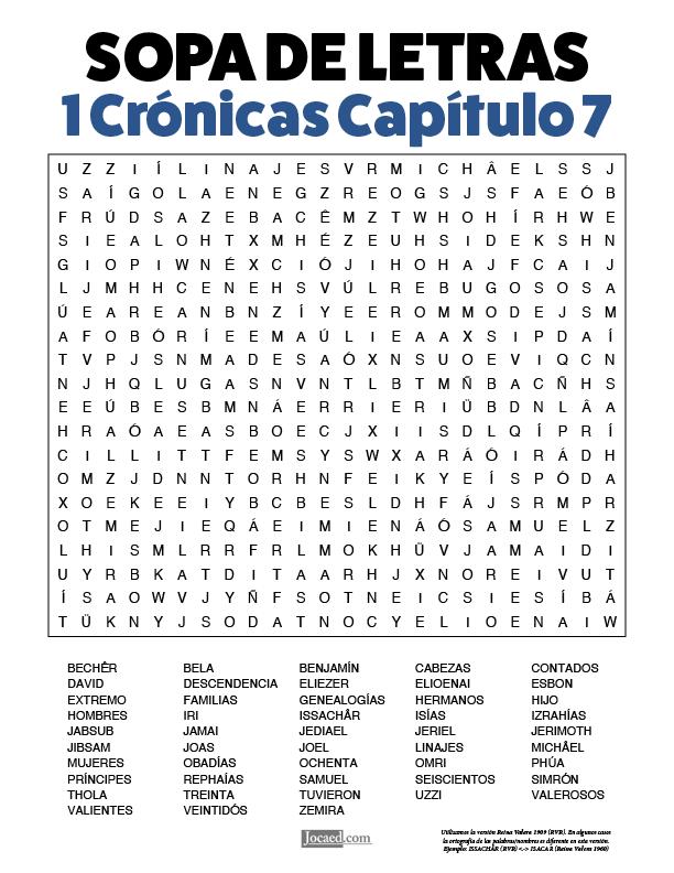 Sopa de Letras - 1 Crónicas Cápitulo 7