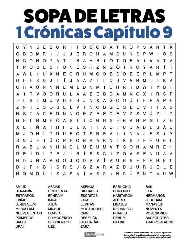Sopa de Letras - 1 Crónicas Cápitulo 9