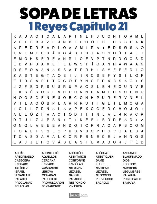 Sopa de Letras - 1 Reyes Cápitulo 21