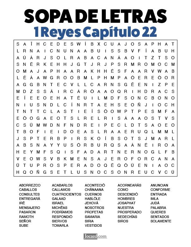 Sopa de Letras - 1 Reyes Cápitulo 22