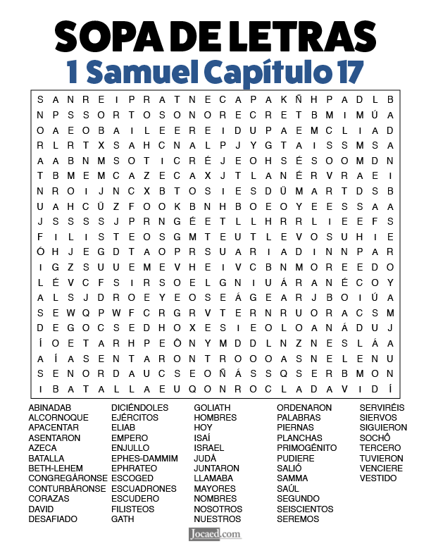 Sopa de Letras - 1 Samuel Cápitulo 17