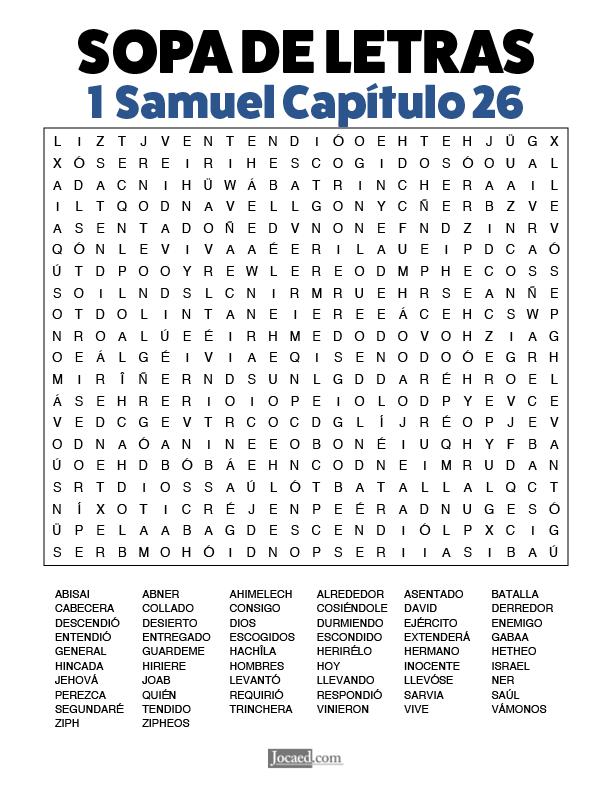 Sopa de Letras - 1 Samuel Cápitulo 26