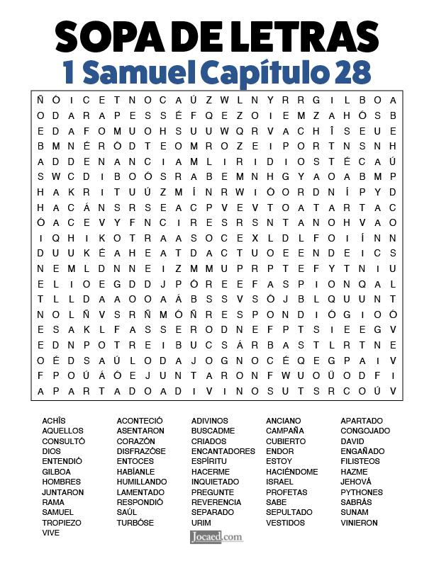 Sopa de Letras - 1 Samuel Cápitulo 28