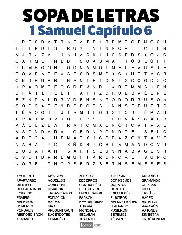 Sopa de Letras - 1 Samuel Cápitulo 6