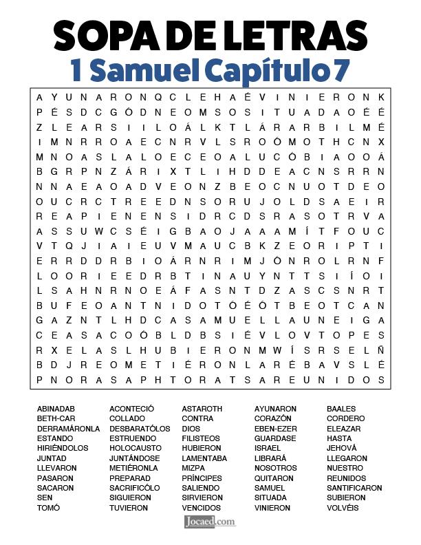 Sopa de Letras - 1 Samuel Cápitulo 7