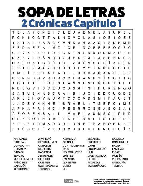 Sopa de Letras - 2 Crónicas Cápitulo 1
