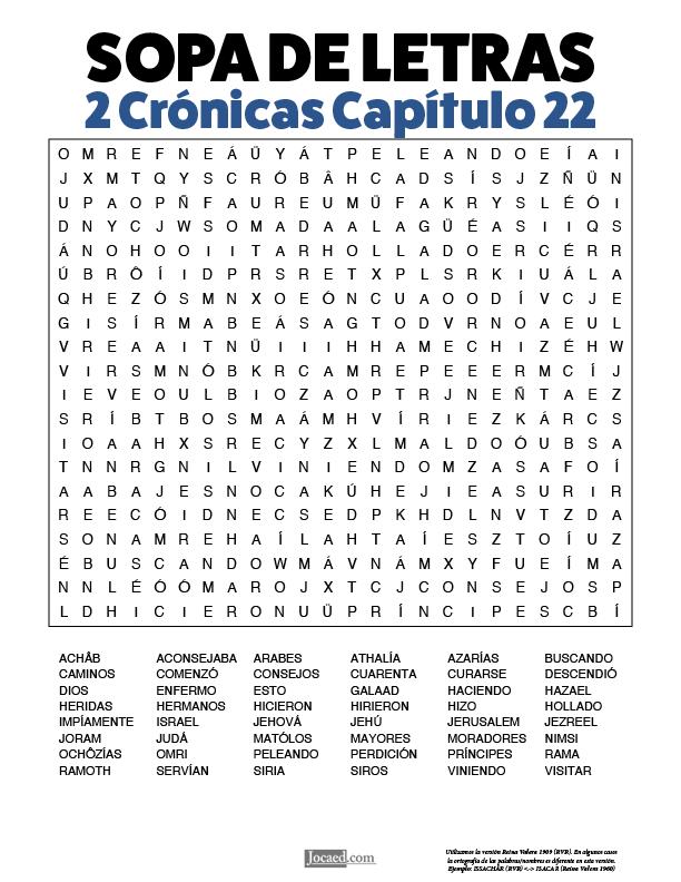 Sopa de Letras - 2 Crónicas Cápitulo 22