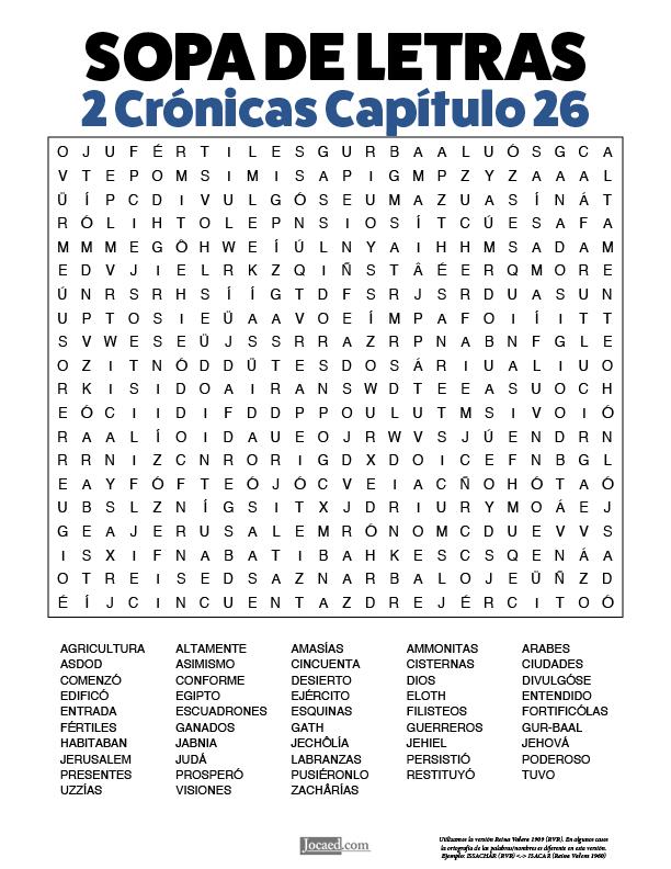 Sopa de Letras - 2 Crónicas Cápitulo 26