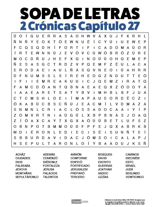 Sopa de Letras - 2 Crónicas Cápitulo 27