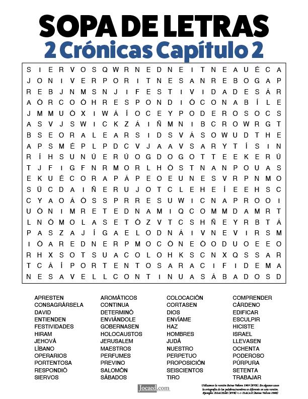 Sopa de Letras - 2 Crónicas Cápitulo 2