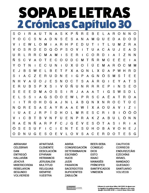 Sopa de Letras - 2 Crónicas Cápitulo 30