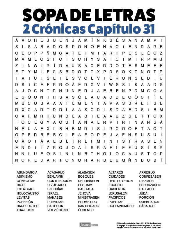 Sopa de Letras - 2 Crónicas Cápitulo 31