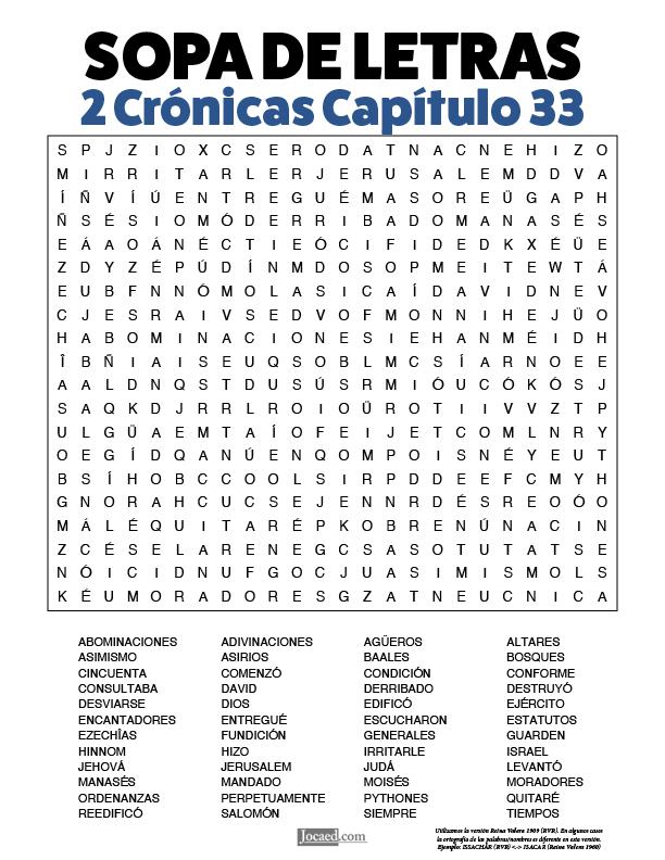 Sopa de Letras - 2 Crónicas Cápitulo 33