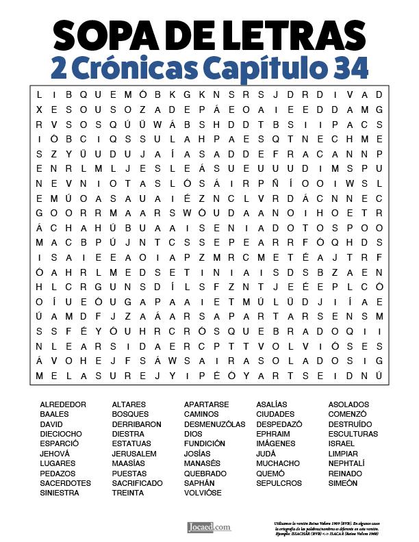Sopa de Letras - 2 Crónicas Cápitulo 34