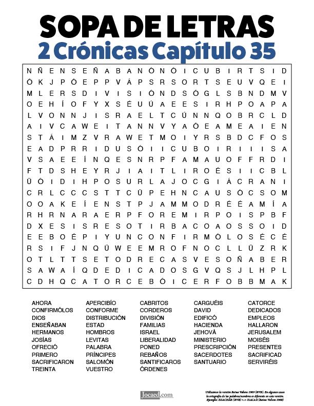 Sopa de Letras - 2 Crónicas Cápitulo 35