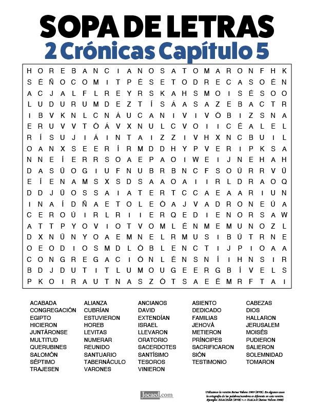 Sopa de Letras - 2 Crónicas Cápitulo 5
