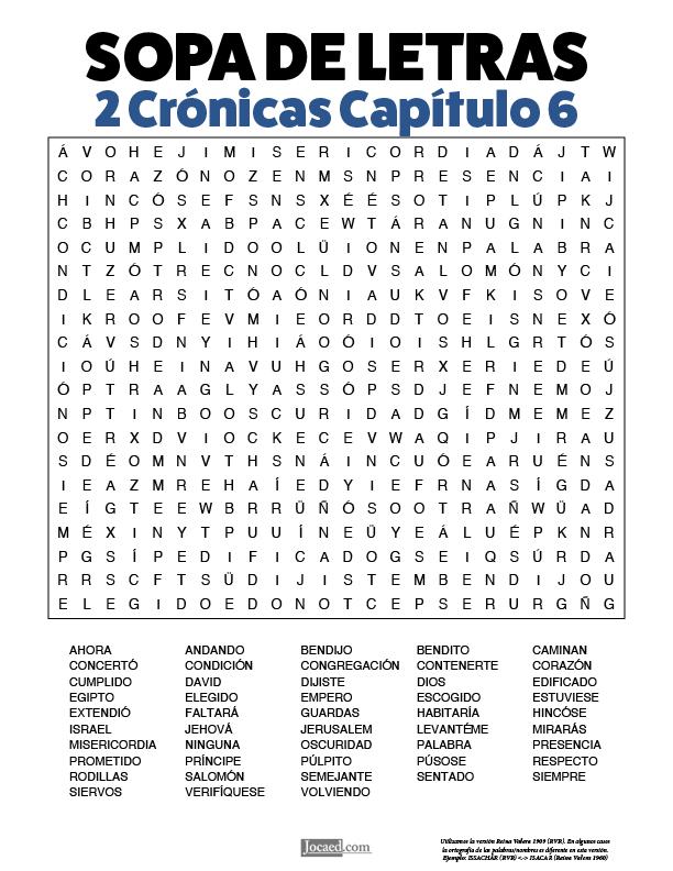 Sopa de Letras - 2 Crónicas Cápitulo 6