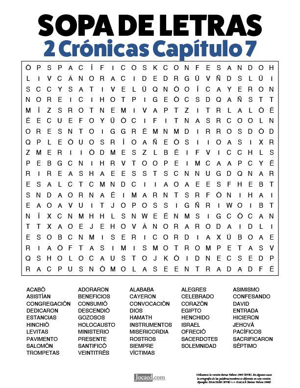 Sopa de Letras - 2 Crónicas Cápitulo 7