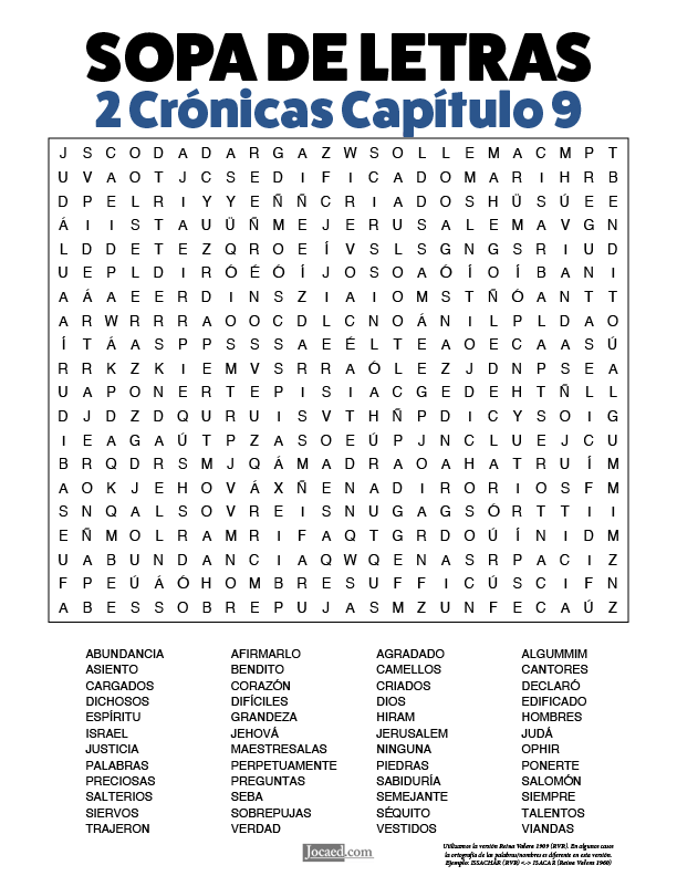 Sopa de Letras - 2 Crónicas Cápitulo 9