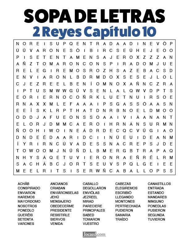 Sopa de Letras - 2 Reyes Cápitulo 10
