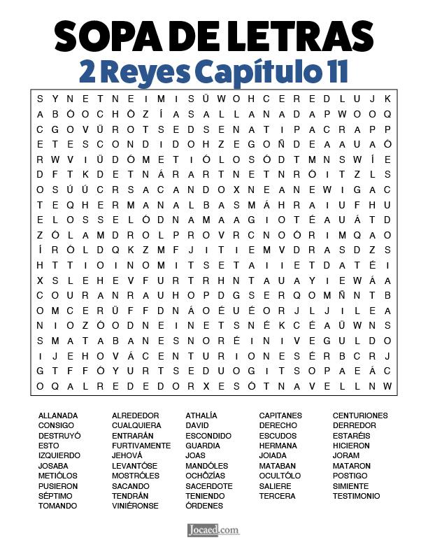 Sopa de Letras - 2 Reyes Cápitulo 11