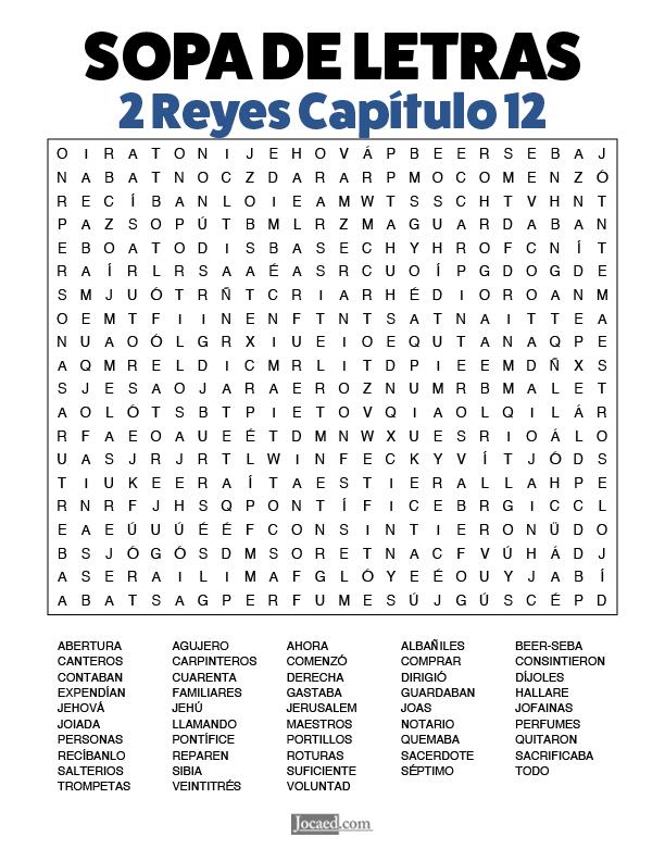 Sopa de Letras - 2 Reyes Cápitulo 12