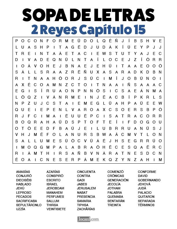 Sopa de Letras - 2 Reyes Cápitulo 15