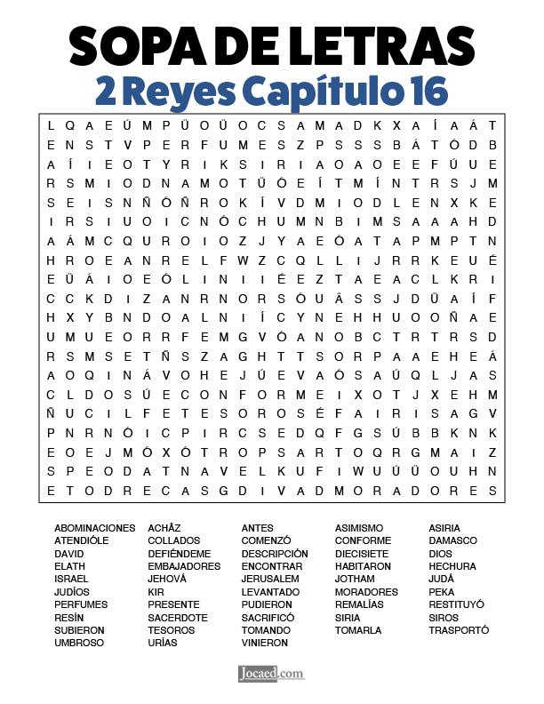 Sopa de Letras - 2 Reyes Cápitulo 16