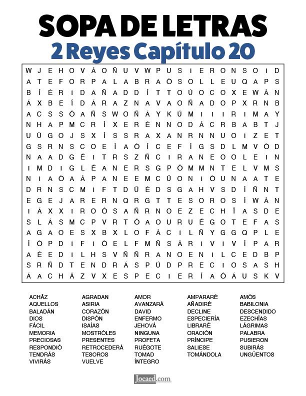 Sopa de Letras - 2 Reyes Cápitulo 20