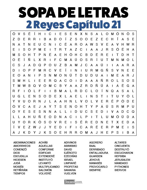 Sopa de Letras - 2 Reyes Cápitulo 21