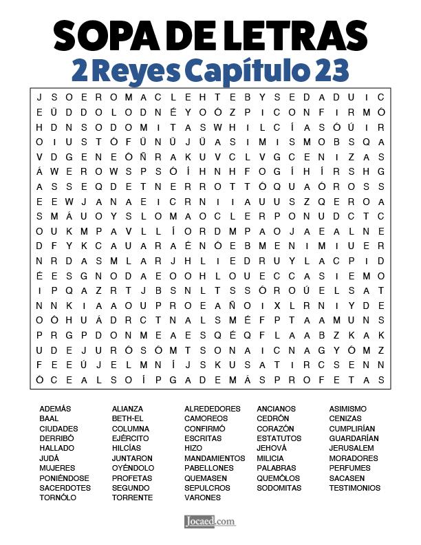 Sopa de Letras - 2 Reyes Cápitulo 23