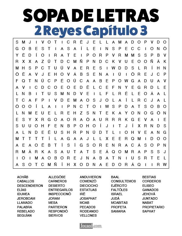 Sopa de Letras - 2 Reyes Cápitulo 3